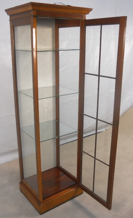 kitchen settee vintage appliance antique style yew tall narrow display cabinet - sold